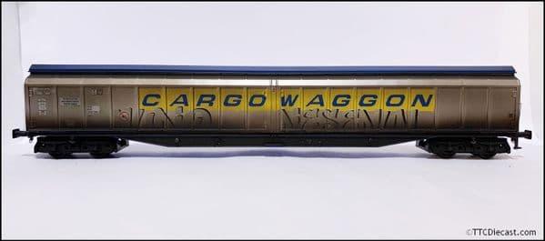 HELJAN 5029 Cargowaggon IWB Bogie Van Silver/Blue, (Weathered) OO Gauge